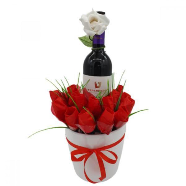 זר מתוק פרלינים ויין
